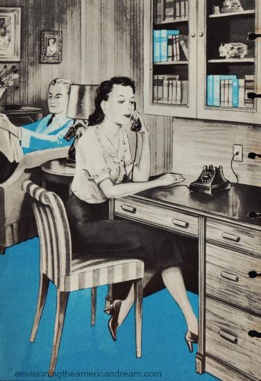 Vintage illustrationwoman sitting at desk talking on the phone