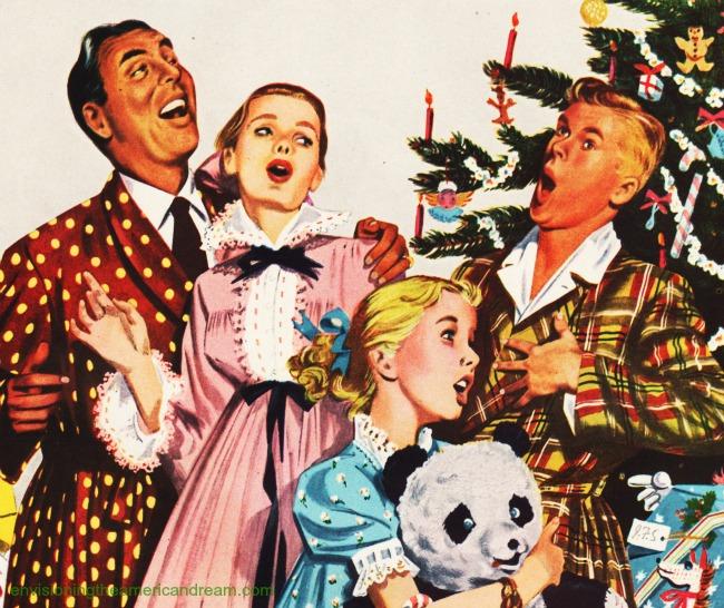 vintage illustration family singing around the Xmas tree