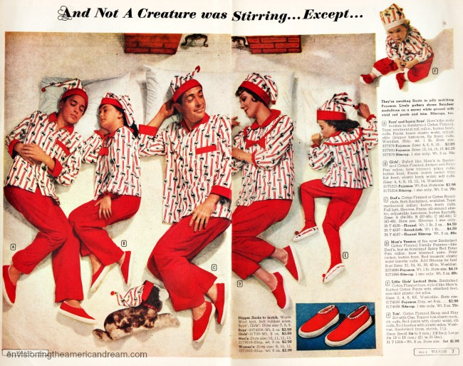 Vintage pages Xmas catalog family in pjs sleeping