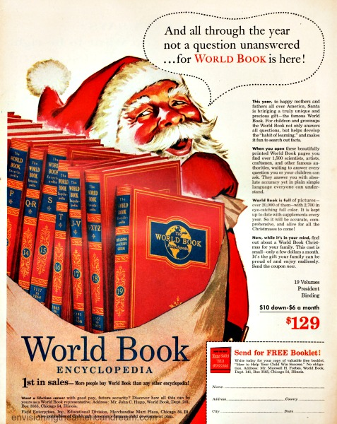bintage ad illustration Santa carrying a bag of encyclopedias