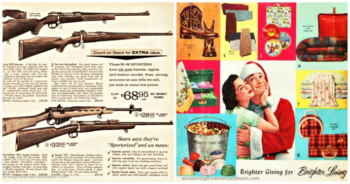 vintage catalog pages mid century guns and Christmas presents