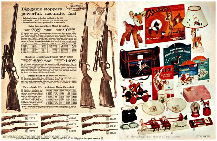 Vintage xmas catalog pages guns deer and rudolph