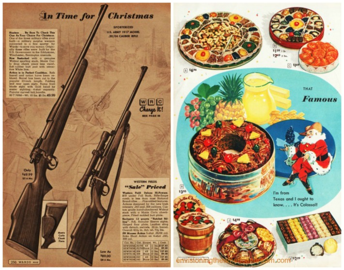 Vintage Xmas catalog pages Xmas Guns Fruitcake In Time for Christmas