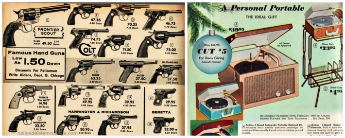 vintage catalog xmas guns pistols and record player