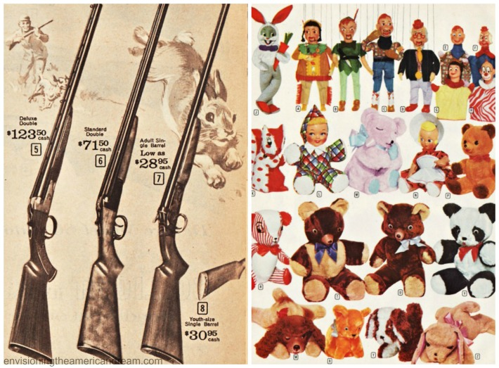 Vintage Xmas catalog pages guns and stuffed animals