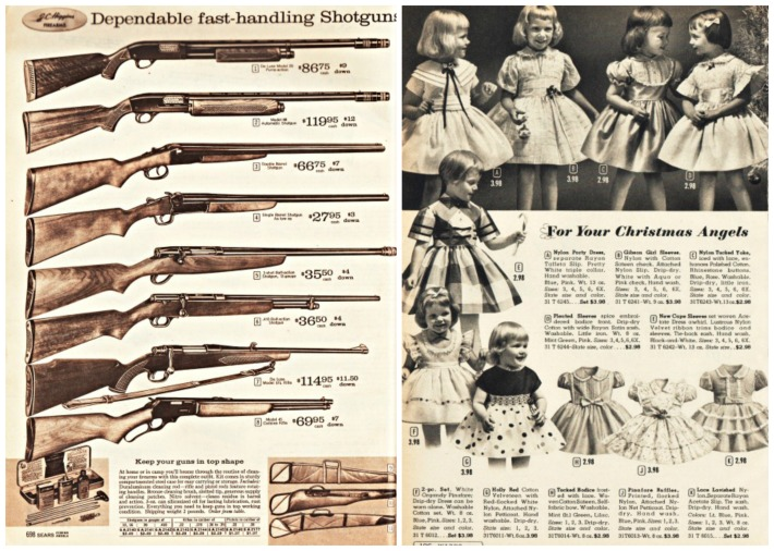 vintage xmas catalog pages guns and little girl dresses