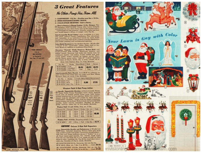 Vintage catalog pages guns and Christmas decorations