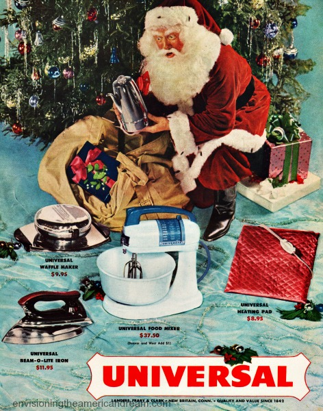 Vintage photo Santa Clause leaving gifts under Xmas tree
