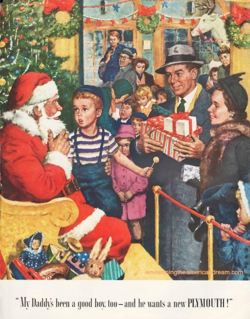 vintage illustration Santa children 1940s family