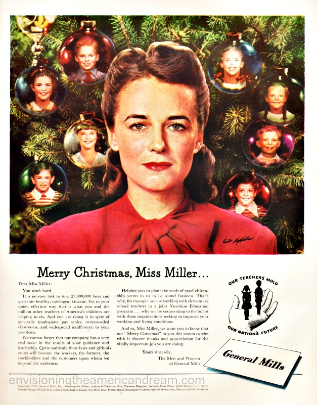 vintage ad illustration woman in front of a Xmas tree
