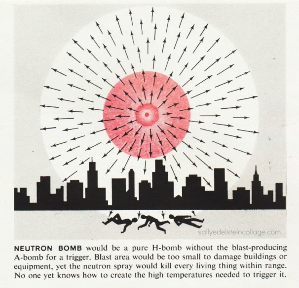 Neutron Bomb and its possible effects. Illustration Life Magazine 1961