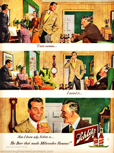 Vintage ad Schlitz Beer 1948 illustrations of couples at home