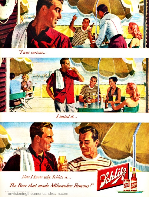 Vintage ad Schlitz Beer 1948 illustration men and women having a beer by the water