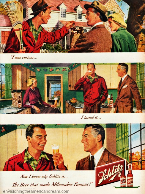 Vintage ad Schlitz Beer 1948 vintage illustration suburban couples in fall