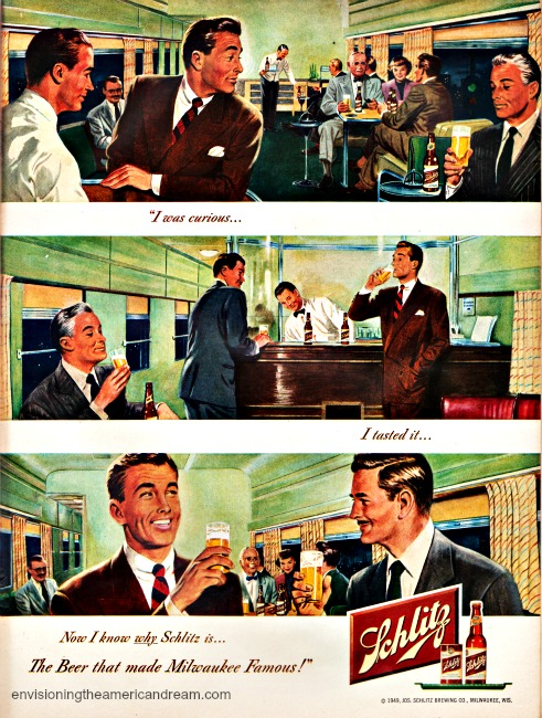 Vintage ad Schlitz Beer 1949 Vintage illustration men on train