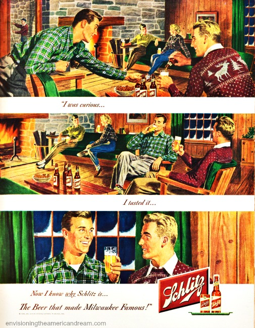 Vintage ad Schlitz Beer 1949 illustration couples in ski lodge