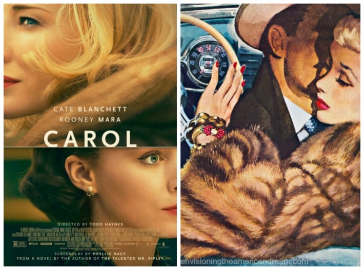 Carol Movie Poster and vintage illustration woman in Mink
