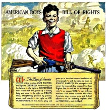 vintage illustration boy with gun
