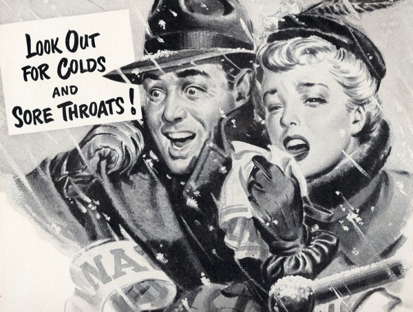 vintage illustration man and woman sneezing