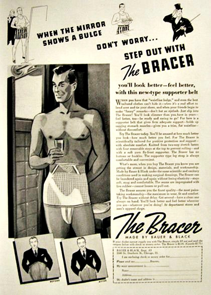 Vintage ad for mens slimming underwear The Bracer