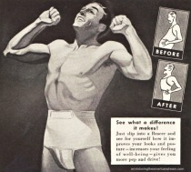 vintage illustration man in slimming garment