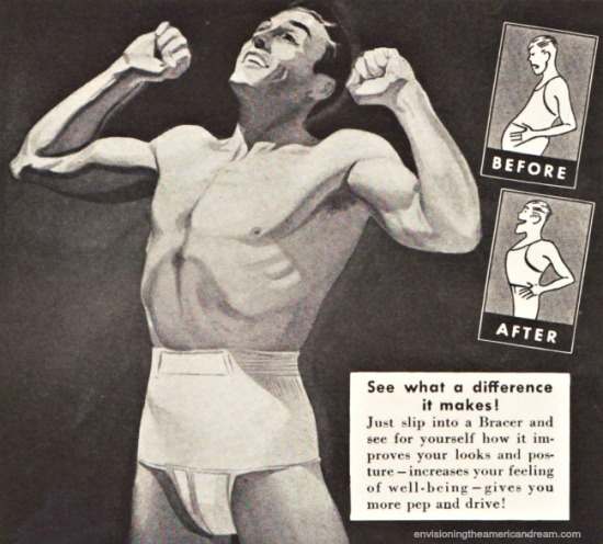vintage ad illustration man physique in underwear