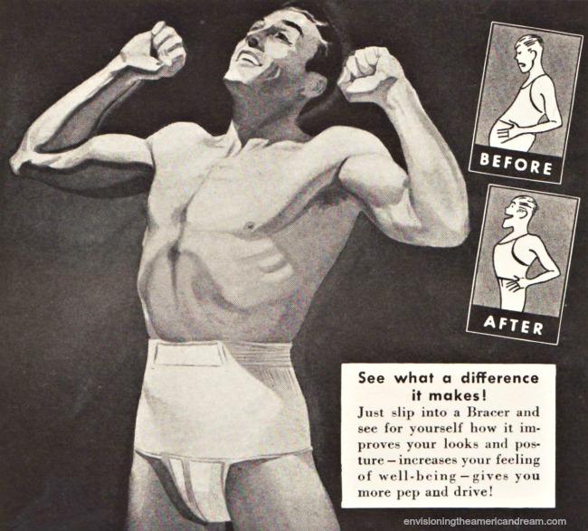 vintage illustration man in slimming garment