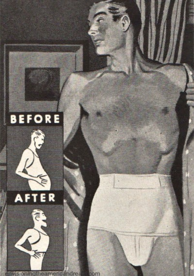 vintage ad illustration man in slimming underwear