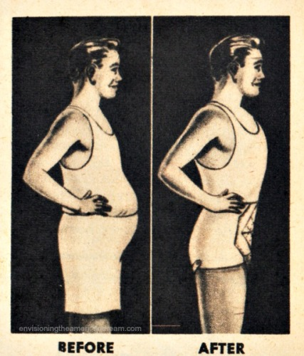 vintage illustration men in slimming underwear before and after