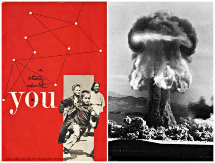 collage vintage booklet a story about you and photo of Nuclear test