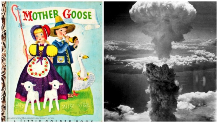 collage Photo of Nagasaki bomb blast and vintage childrens book Mother Goose