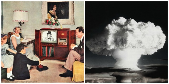 vintage images collage Nuclear blast and and nuclear family watch TV