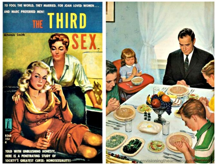 collage vintage book cover The Third Sex and illustration of American family praying at the dinner table