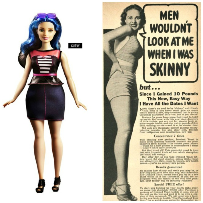 collage new curvy barbie curvy and vintage ad for gaining weight to skinny women