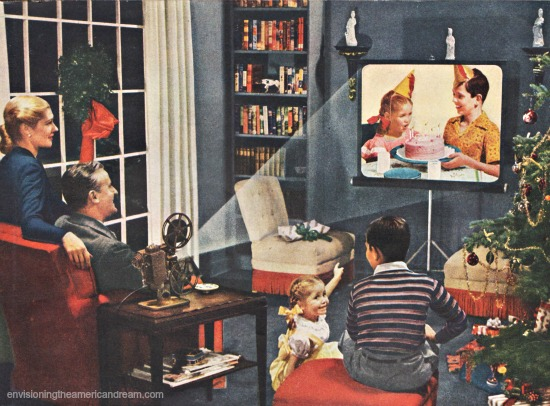1940s family watching home movies