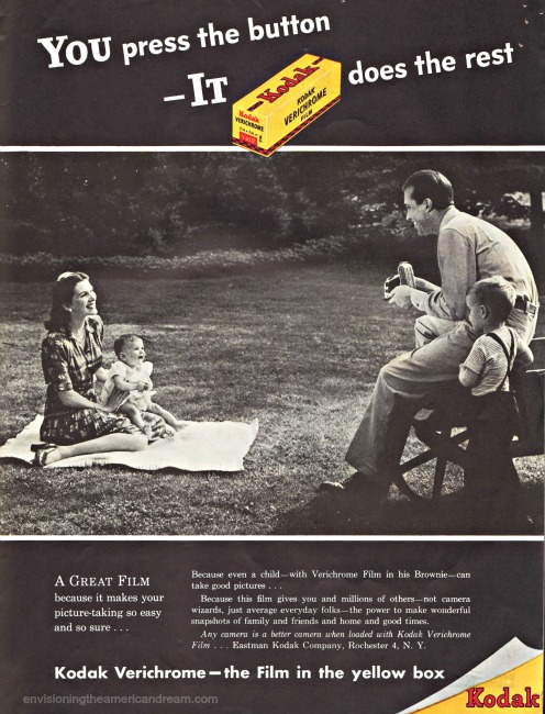 1946 family on picnic Vintage Kodak camera ad