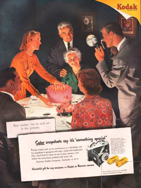 Vintage Kodak ad 1951 Family celebrating birthday cake