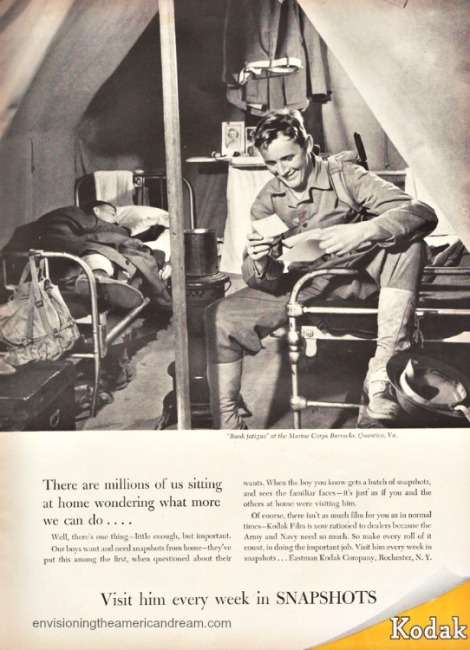 WWII Vintage Kodak ad 1943 soldier reading mail from home