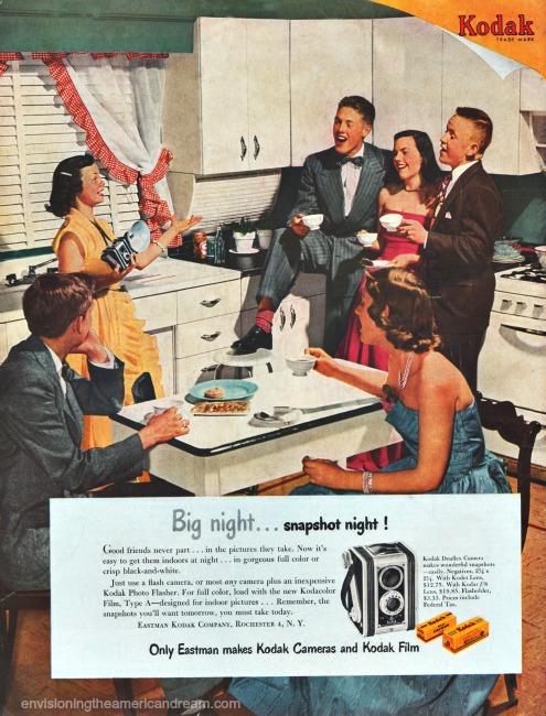 Vintage Kodak Camera ad 1950 Friends celebrating in kitchen