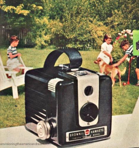 Vintage Kodak Ad 1953 Kodak camera suburban backyard