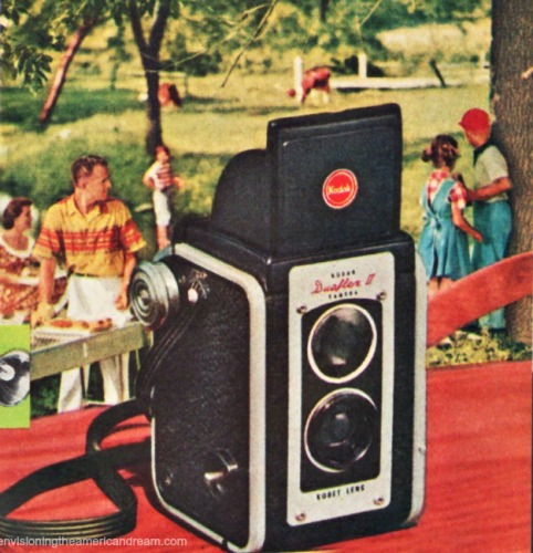 Vintage Kodak Camera Ad 1953 Kodak Duoflex camera family cook out