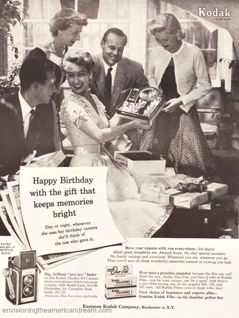 1950s Friends celebrating birthday Vintage Kodak Camera ad 1954