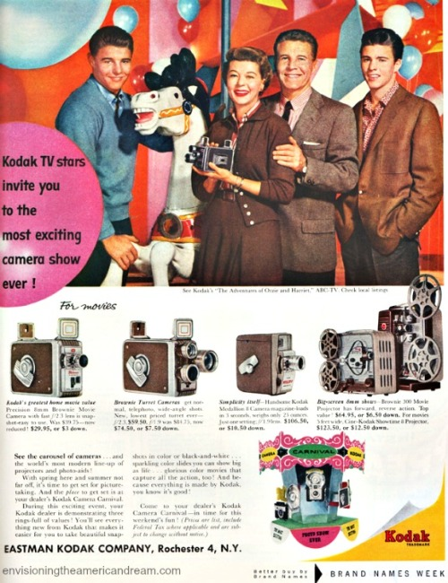 Ozzie and Harriet Nelson Vintage Kodak cameras ad 1950s
