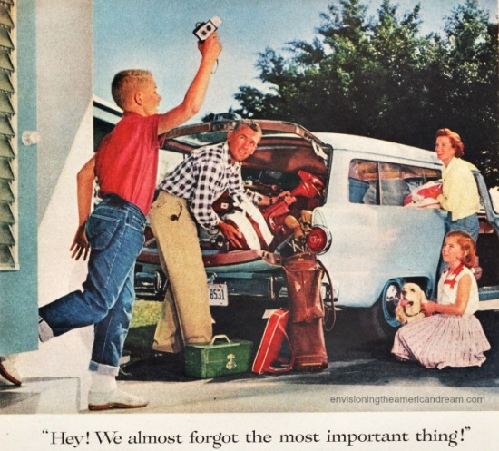 1960s family leaving on vacation vintage Kodak ad