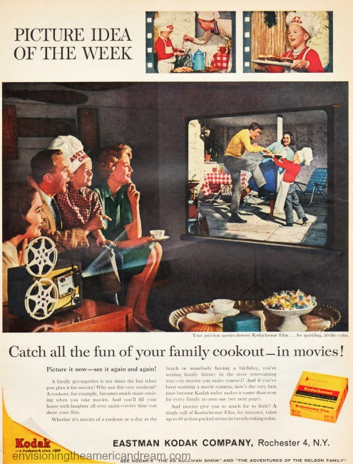 1960s family watching home movies of family cookout vintage Kodak ad