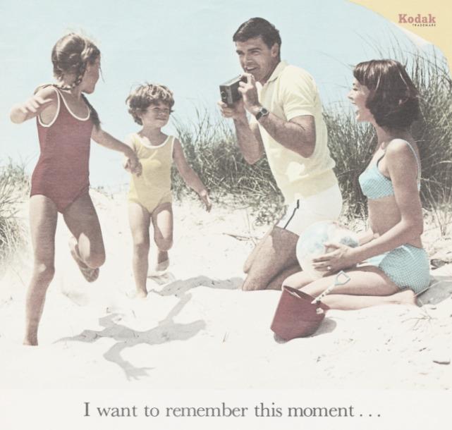 Vintage Kodak camera ad 1950s Family on the beach