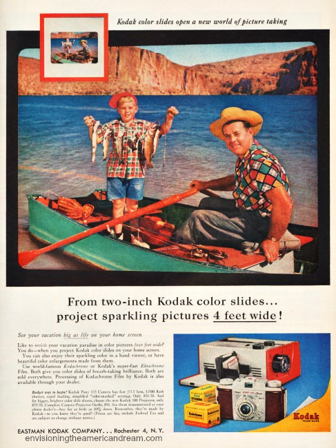 Vintage Kodak Camera ad 1957 Father and son fishing