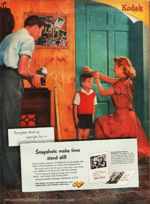 Vintage Kodak ad 1953 parents measuring growth of son