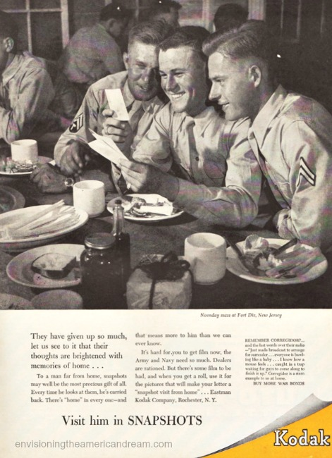 WWII Vintage Kodak ad 1943 soldiers reading mail from home