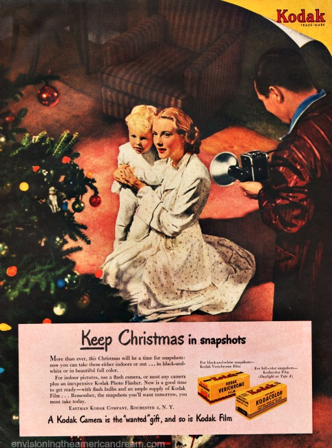 Vintage Kodak ad Christmas family 1940s